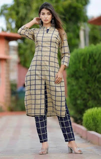 Stylish Women's Cotton Slub Checked Kurta Pant Set