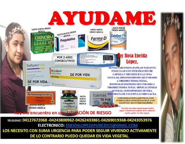 SALUD: Rosa Eneida López solicita con urgencia medicamentos crónicos en Apure. (VER AFICHE).