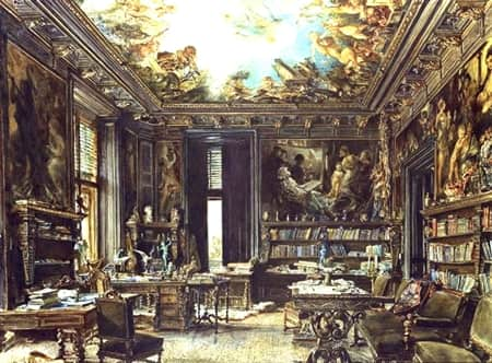 Rudolf von Alt. The library in the Palais Dumba 1877