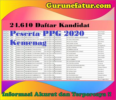24.610 Daftar Kandidat Peserta PPG 2020 Kemenag