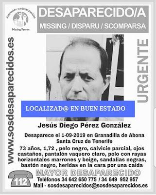 Localizado en buen estado Jesús Diego Pérez González, Granadilla de Abona, Tenerife