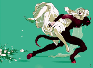 Tomer Hanuka's illustration for The New York Times featuring a bipedal demon abducting a bride from her wedding.