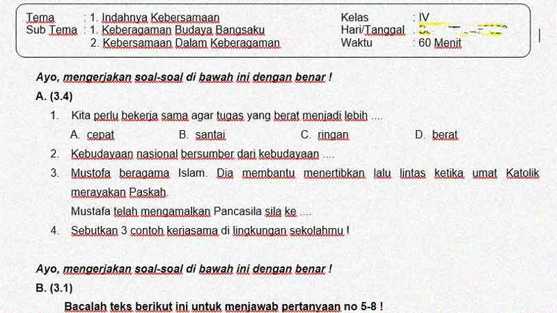 Latihan Soal Ulangan atau Penilaian  Kelas 4 Tema 1 Subtema 1 dan 2 + Kunci Jawaban