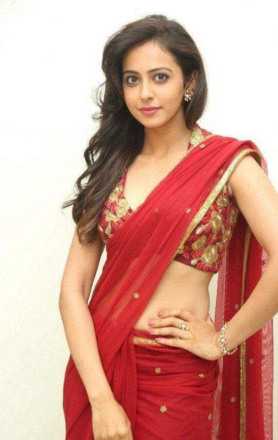 Rakul Preet Singh Hot in Red Saree Latest Photos