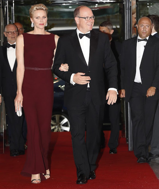 Prince Albert and Princess Charlene attended a gala dinner for  Prince Albert II Foundation at the Salle des Etoiles in Monte Carlo