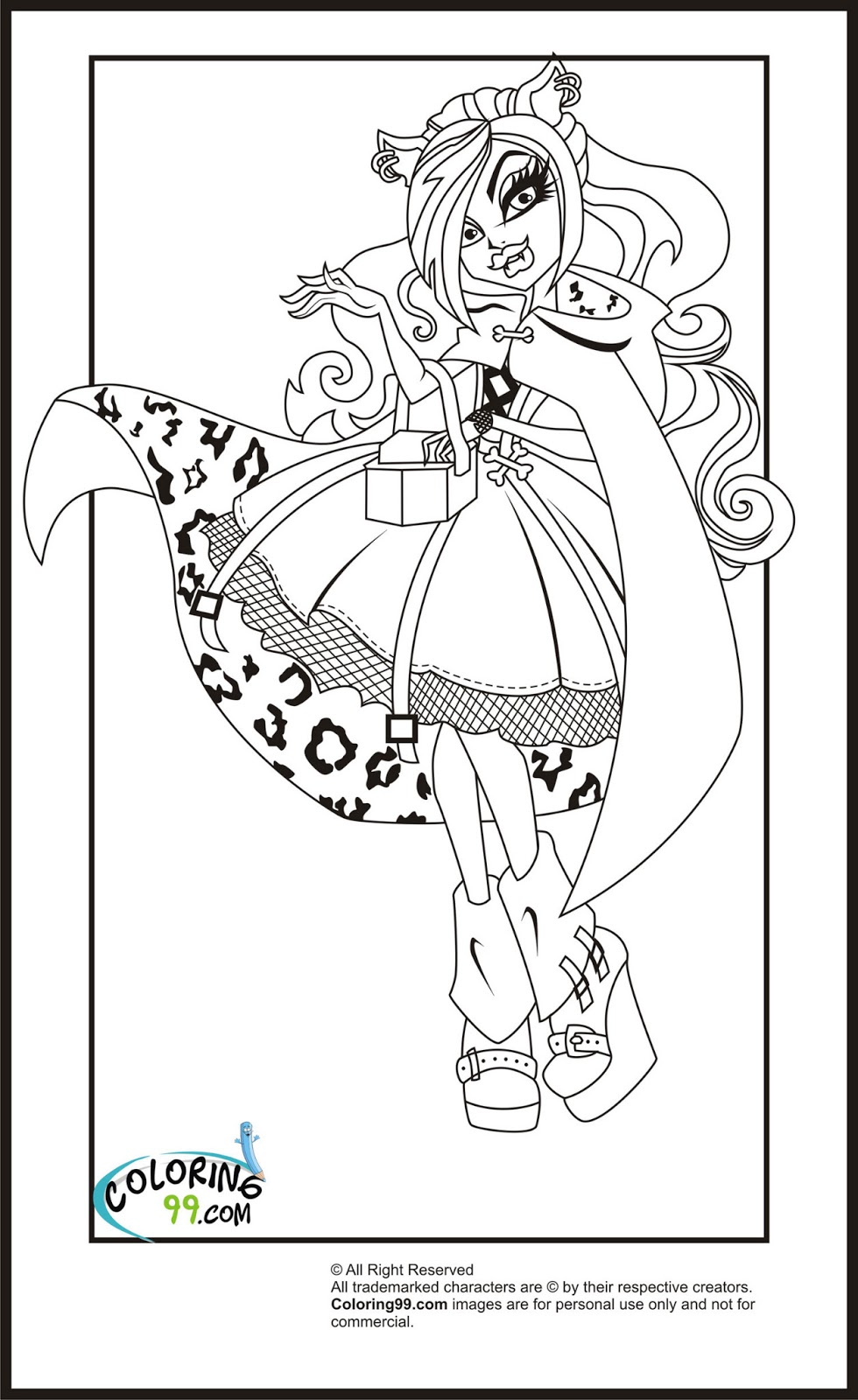 Monster high clawdeen wolf coloring pages team colors for Monster high color pages free