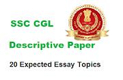 20 Most Expected Essay Topics for SSC CGL Descriptive Paper Tier 3