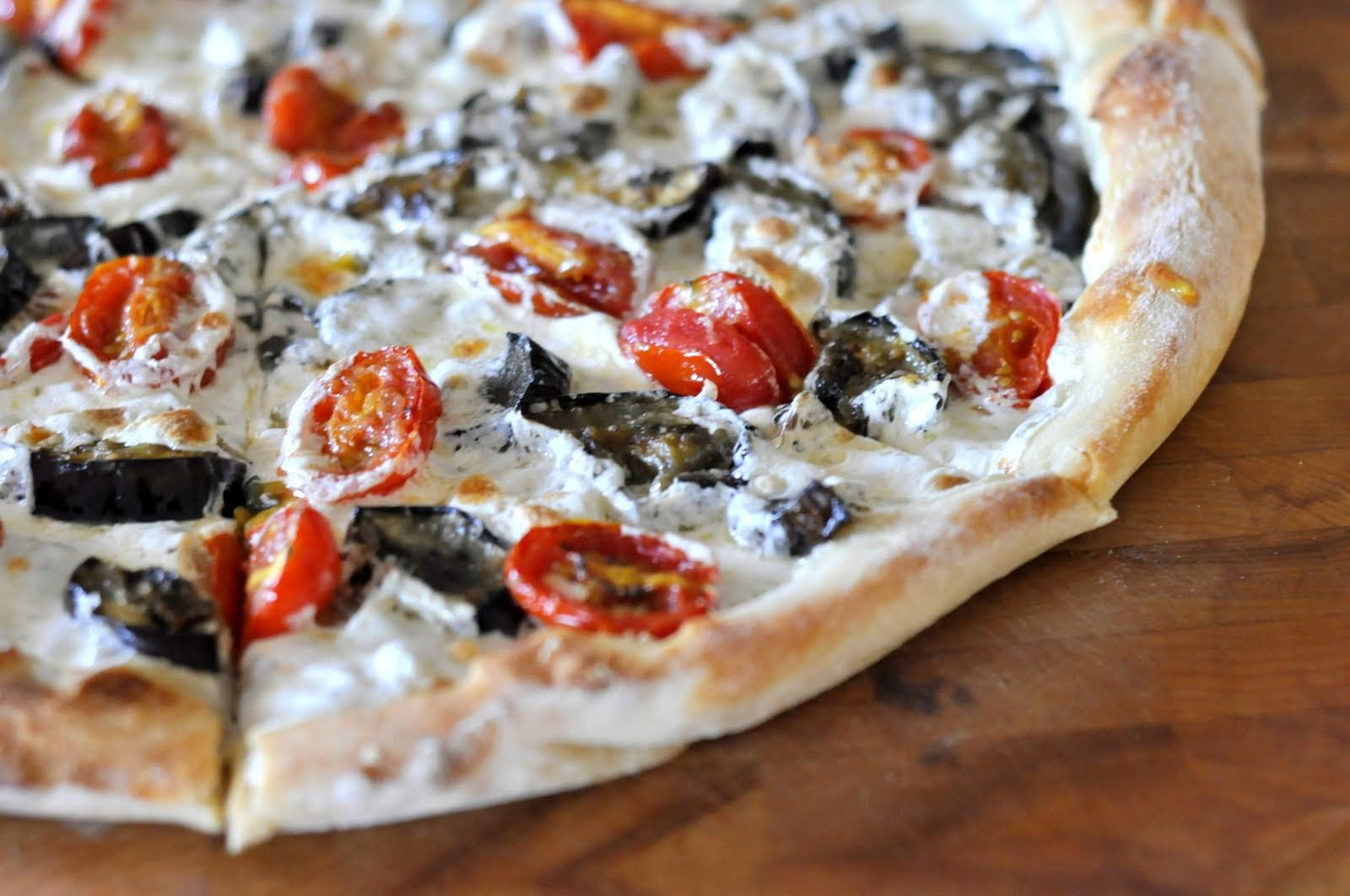 Pizza with Eggplant, Grape Tomatoes, and Fresh Mozzarella | Find the recipe on Taste As You Go!
