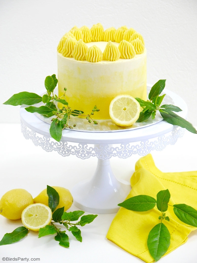 Lemon Ombre Layer Cake with Lemon Curd Filling