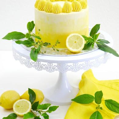 Lemon Ombre Layer Cake with Lemon Curd Filling