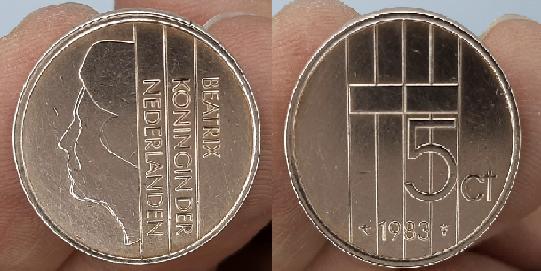 5 سنت هولندي اصدار عام 1983 ميلادي CENTS - BEATRIX