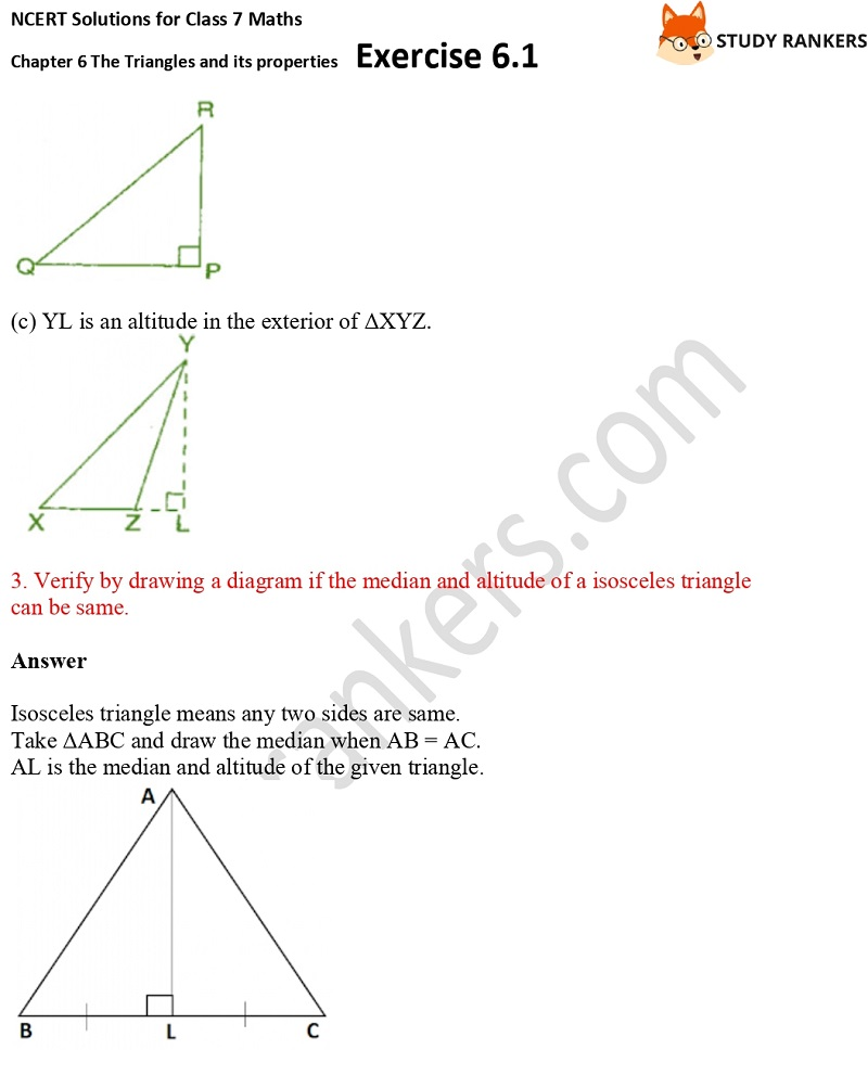NCERT Solutions for Class 7 Maths Ch 6 The Triangles and its properties Exercise 6.1 2