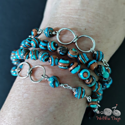Blue Lace Malachite Face Mask Chain with Wire Infinity Knot as Layered Bracelet