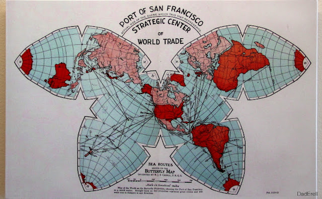Butterfly map sea routes port of San Francisco