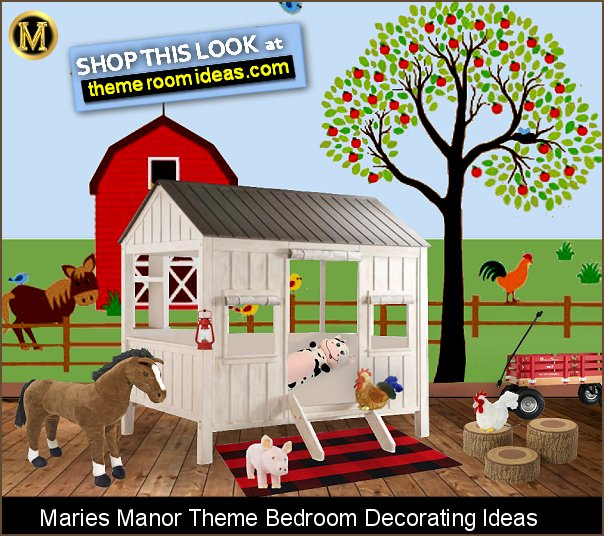 Farmyard bedroom decorating ideas - farm animal decor  Farm kids room decor - farm animal wall decals