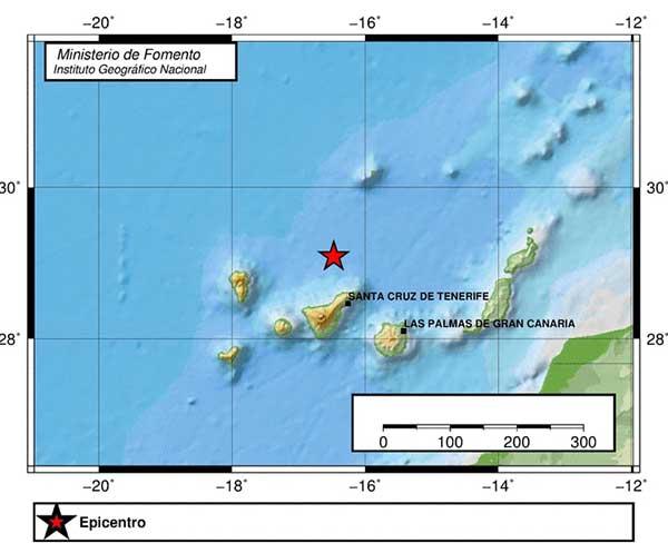 Terremoto Atlántico Canarias, norte Tenerife, 20 febrero