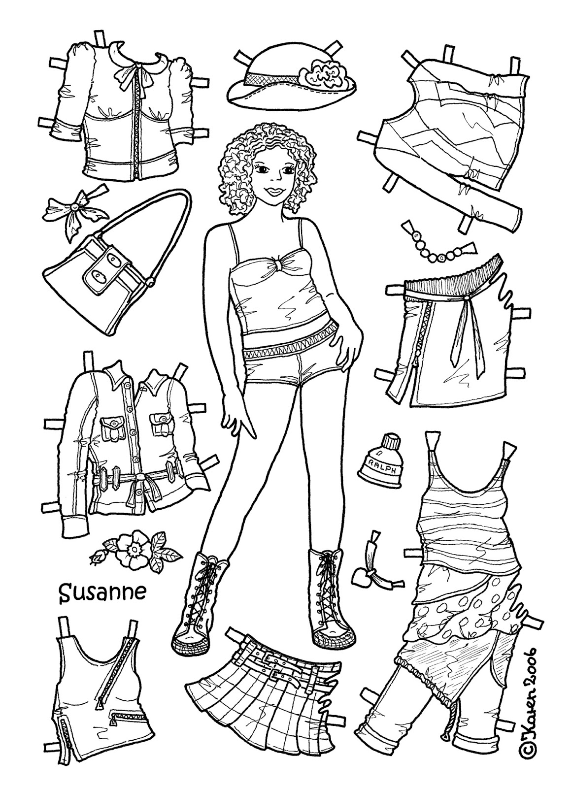 Karen`s Paper Dolls: Susanne 1-6 Paper Doll to Colour