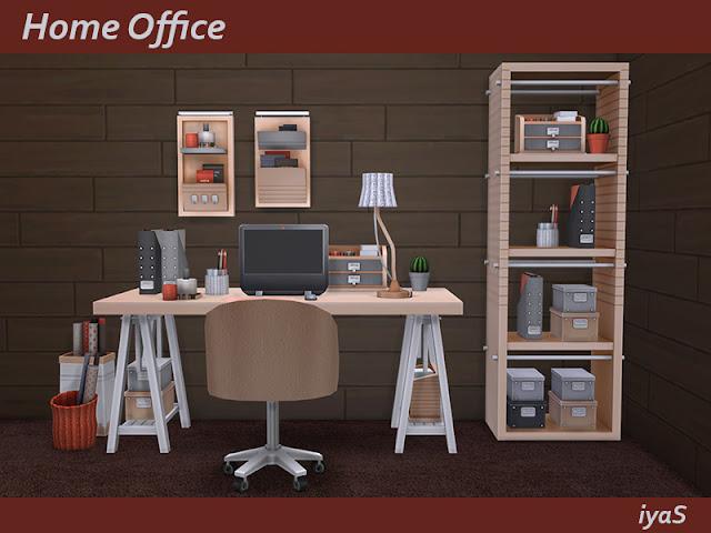Home Office Домашний офис для The Sims 4 Практичный набор для домашнего офиса. Включает в себя 14 предметов. Имеет 4 цветовых вариации. Предметы в наборе: - стол письменный - письменный стул - настольный светильник - стеллаж - файлы - держатель карандаша - два вида коробок - вязаная корзинка с бумагой - сумка с бумагой - пул потоков - функциональная полка - декоративная полка - кактус Автор: soloriya