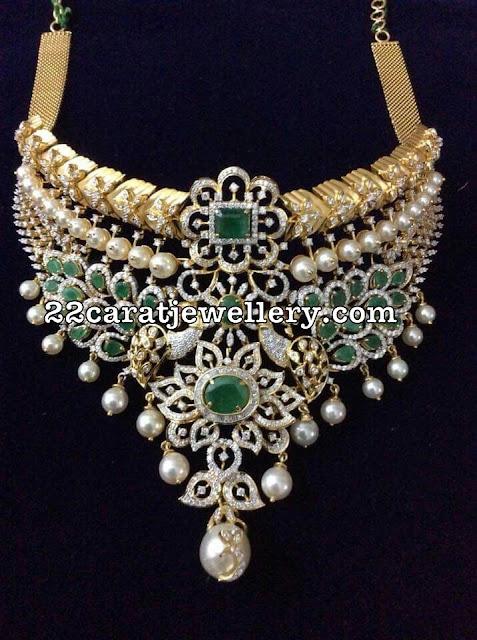 Peacock Diamond Pearl Emerald Choker