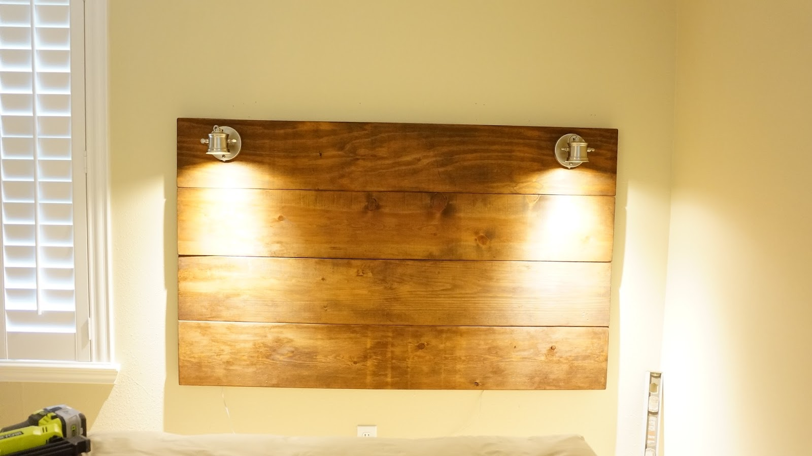DIY Wood Plank Lighted Headboard