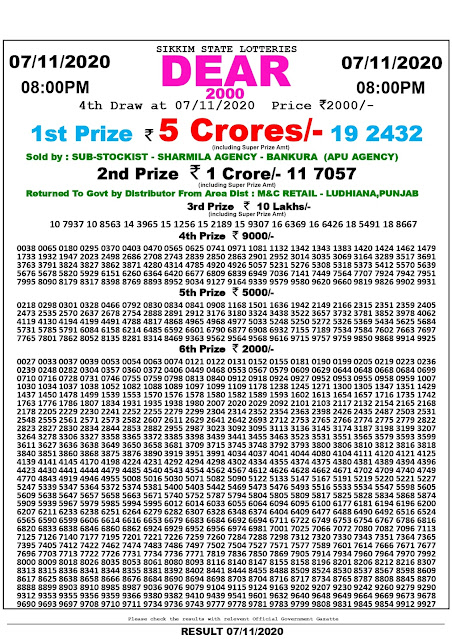 Lottery Sambad Dear 2000 Lottery 07.11.2020 Results 8:00 pm, Sikkim State Lottery Result, dear lottery result today, Dear 2000 lottery