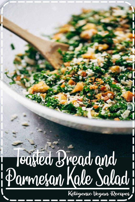 This is THE BEST Kale Salad! Lots of shredded kale, Parmesan cheese, homemade breadcrumbs, and a lemon olive oil dressing. So simple, SO GOOD. #salad #vegetarian #healthy #cleaneating #saladrecipe