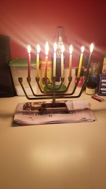 My menorah lit up for the 7th night of Hanukkah