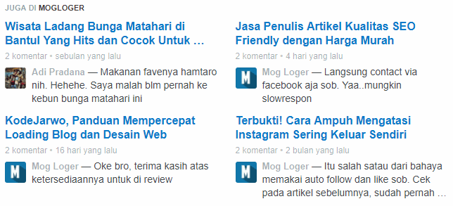 Contoh Tampilan Related Post With Comment Disqus