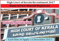 High Court of Kerala Recruitment 2017 – 41 Munsiff-Magistrate