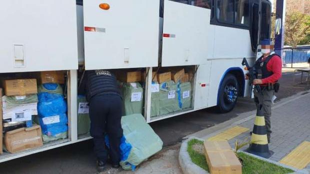 Operação Escudo apreende mais um ônibus carregado de mercadorias
