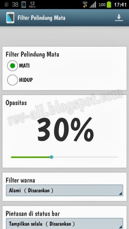 Tapilan utama Bluelight Filter for eye Care versi Free - filter pelindung mata untuk meredupkan layar android di malam hari (rev-all.blogspot.com)