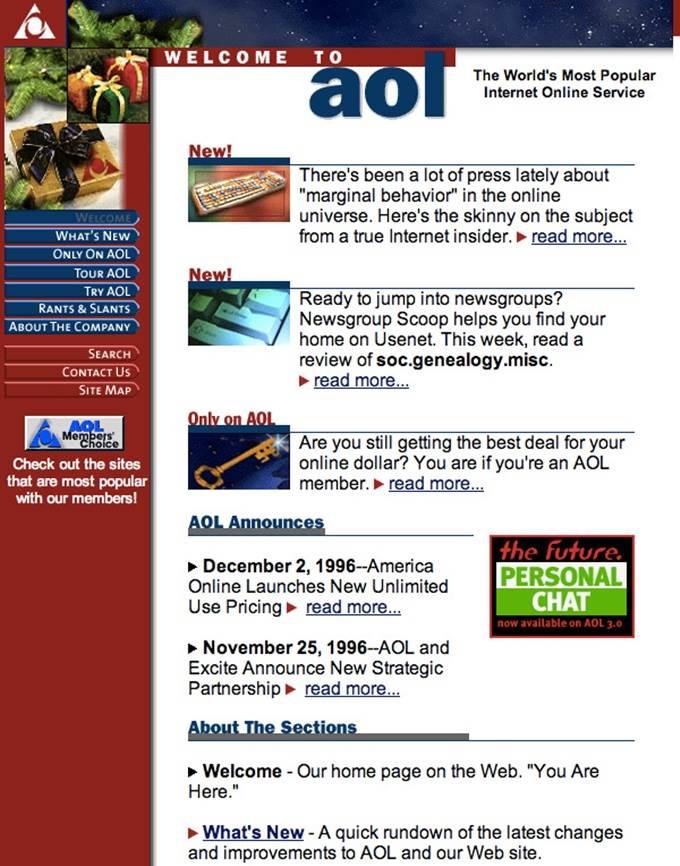 aol website 1996