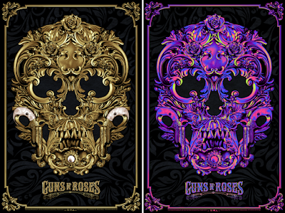 Guns N' Roses Flocked Screen Print by Anthony Petrie x Bottleneck Gallery