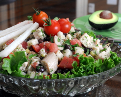 Mexican Chicken Salad, another Quick Supper ♥ KitchenParade.com, just rotisserie chicken tossed with lime-yogurt vinaigrette, black beans, jicama, corn and tomato.