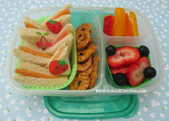 Triangle tea sandwiches, bento school lunches
