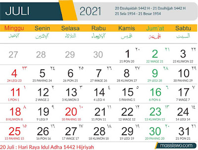 Template Kalender 2021 Bulan Juli