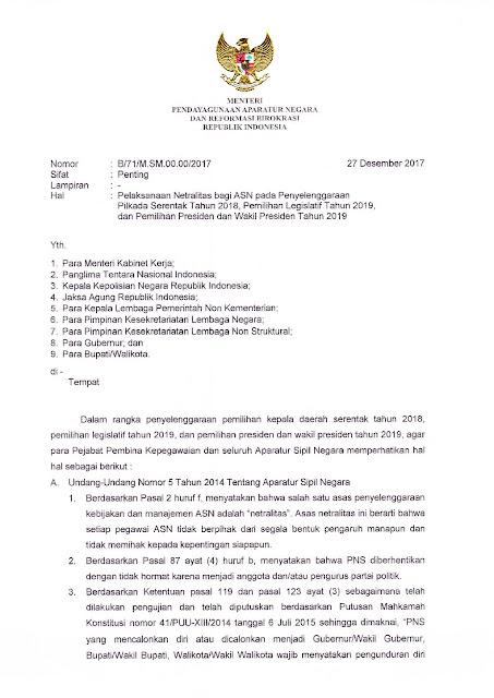 Surat Menteri PANRB: Pelaksanaan Netralitas Bagi ASN Pada Penyelenggaraan Pilkada Serentak Tahun 2018, Pemilihan Legislatif Tahun 2019, Pemilihan Presiden dan Wakil Presiden Tahun 2019