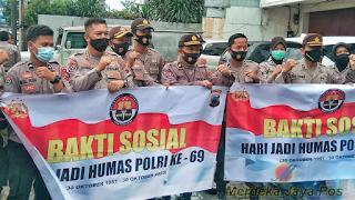 """Jajaran Humas Polda Jateng """"Peringati Hari Jadi Humas Polri Ke 69 Dengan Bansos"""