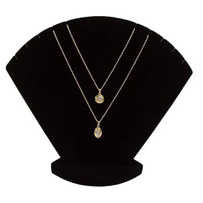 Black Velvet Necklace Display Stand showcasing two gold necklaces