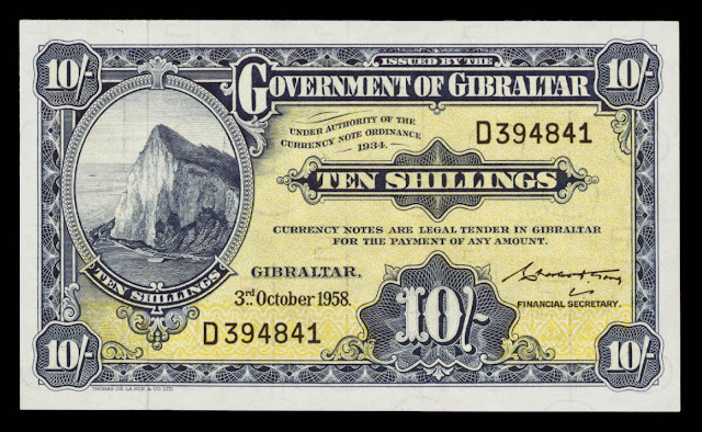 Gibraltar Banknotes 10 Shillings note 1958 Rock of Gibraltar