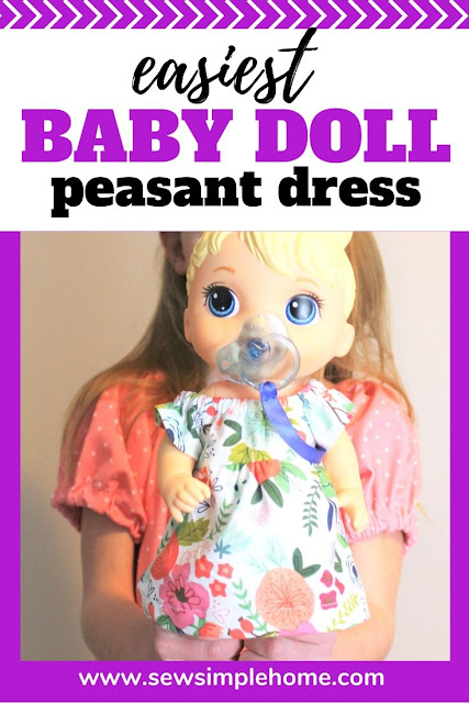 "Learn to sew a simple diy peasant dress pattern with this easy sewing tutorial and free PDF pattern in sizes 12 month to 12 years plus a 12"" doll size."