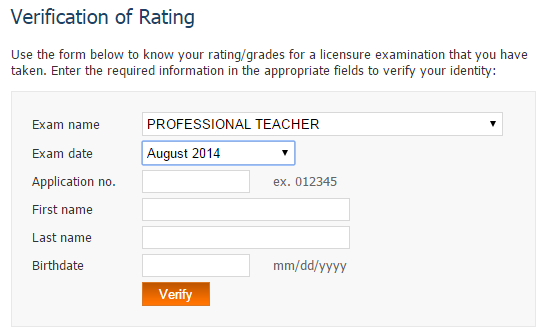 Verification of Ratings August 2014 LET