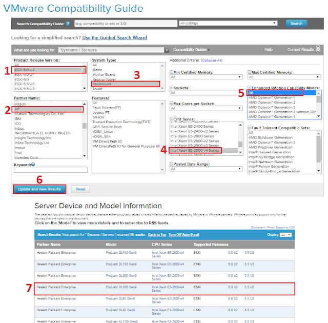 Resultados de la busqueda en VMware Compatibility Guide.