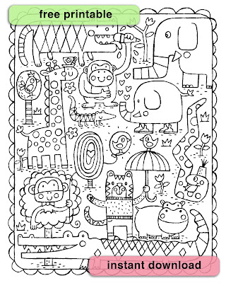 a collection of jolly jungle animals to download and color in