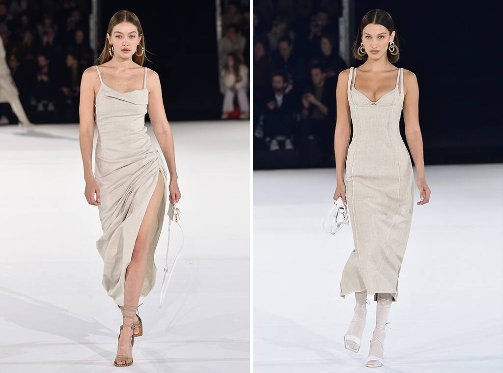 Bella Hadid wows in a plunging corset dress while sister Gigi flaunts her honed legs in thigh-split gown as supermodels dazzle at Jacquemus Menswear PFW show