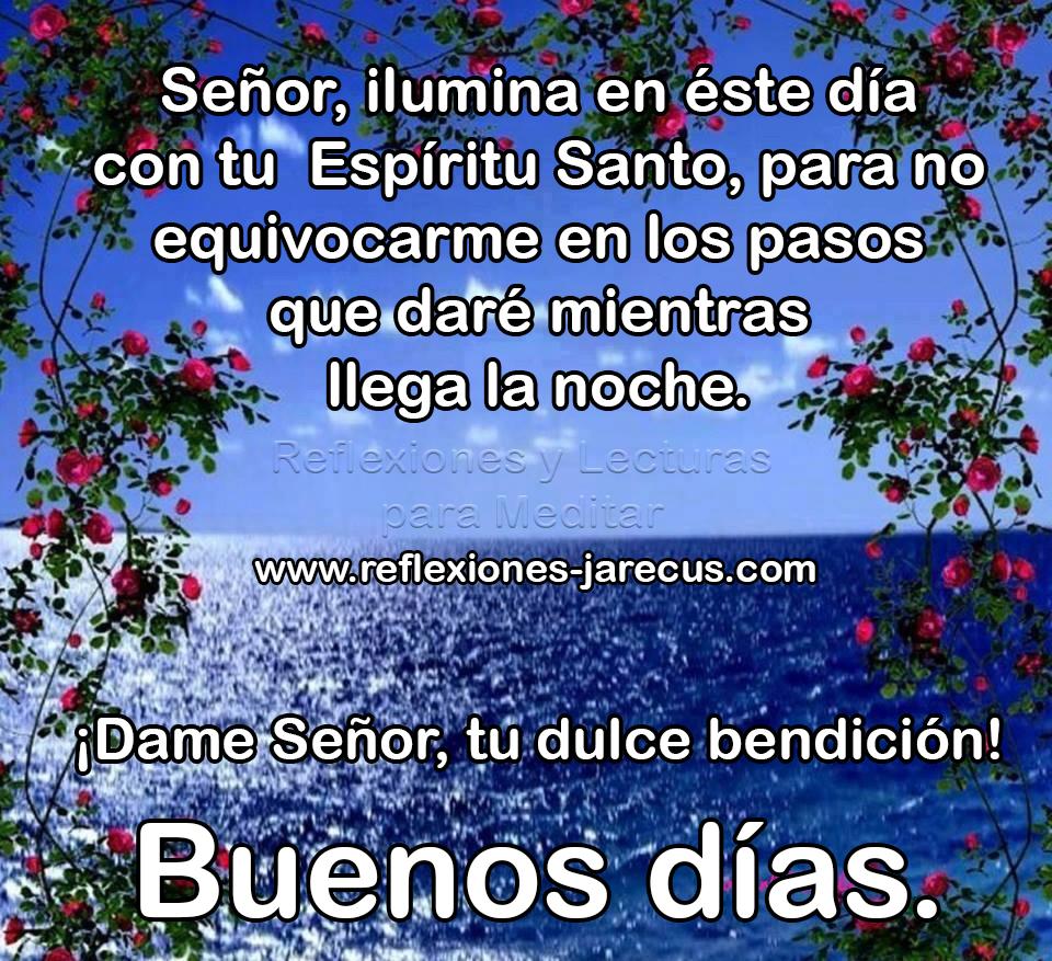 Señor, ilumina en éste día con tu Espíritu Santo, para no equivocarme en los pasos que daré mientras llega la noche.