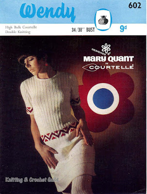 1960s vintage knitting pattern; Wendy; Mary Quant; cream short-sleeved dress with patterned bands at waist & cuffs