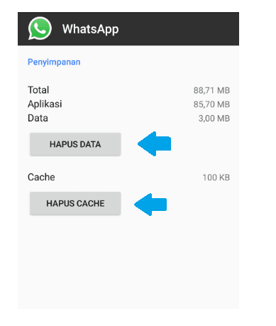 Clear data dan cache WA