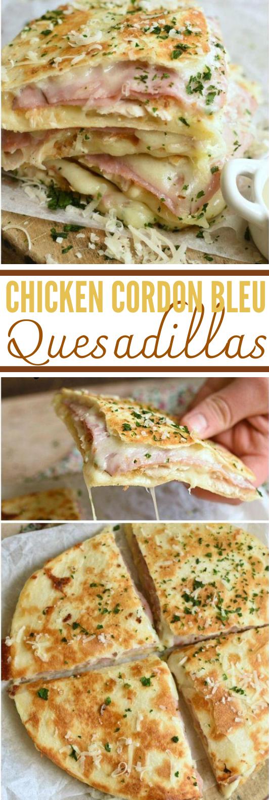 Chicken Cordon Bleu Quesadillas #easy #lunch #dinner #chicken #wraps