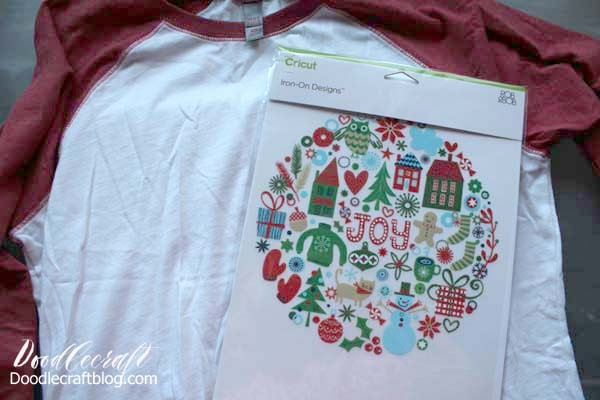 Make a festive holiday joy shirt with Cricut iron-on designs in just a couple minutes! This cute shirt is perfect for a Christmas party or as a holiday gift.